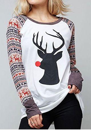 Christmas Reindeer O-Neck Baseball T-Shirt