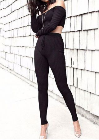 Solid Off Shoulder Knitted Crop Top and Pants Set without Necklace