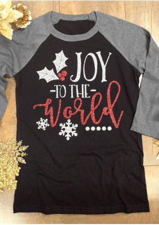 Christmas Joy To The World Baseball T-Shirt