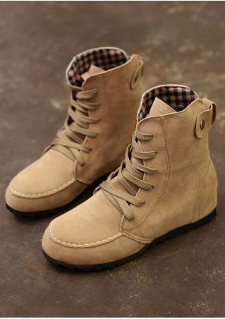 Solid Lace Up Height-Increasing Boots