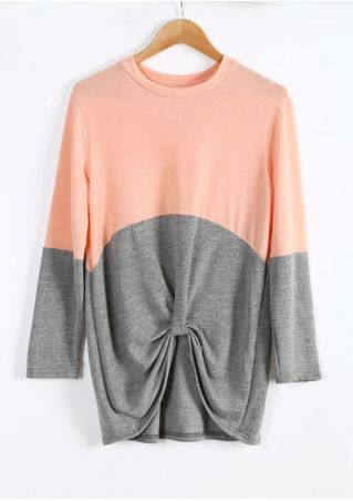 Color Block Knot O-Neck Blouse