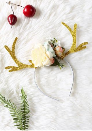 Christmas Floral  Antler Headband
