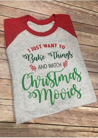 Bake Things And Watch Christmas Movies Baseball T-Shirt