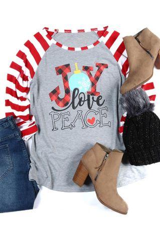Christmas Joy Love Peace Baseball T-Shirt