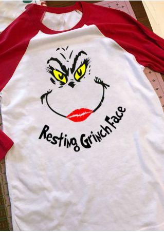Christmas Resting Grinch Face Baseball T-Shirt