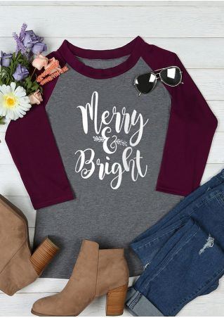 Christmas Merry & Bright O-Neck Baseball T-Shirt