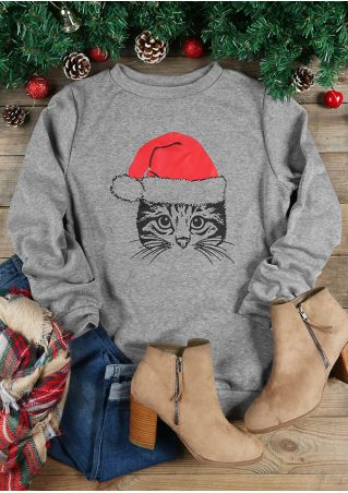 Christmas Cat Face O-Neck Long Sleeve Sweatshirt