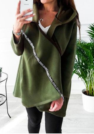Love Asymmetric Hooded Coat without Necklace