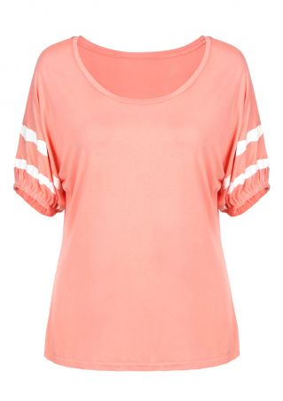 Striped Detail Batwing Sleeve T-Shirt