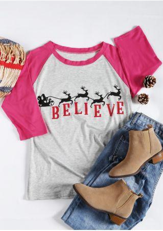 Christmas Believe Reindeer Baseball T-Shirt