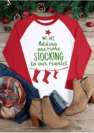 Christmas Star Stocking Baseball T-Shirt