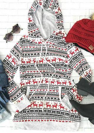 Christmas Reindeer Pocket Hoodie