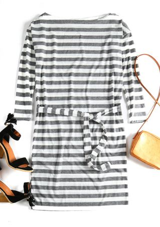 Striped Batwing Sleeve Casual Dress
