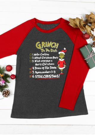Christmas Grinch To Do List Baseball T-Shirt