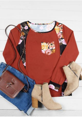 Floral Pocket Long Sleeve T-Shirt