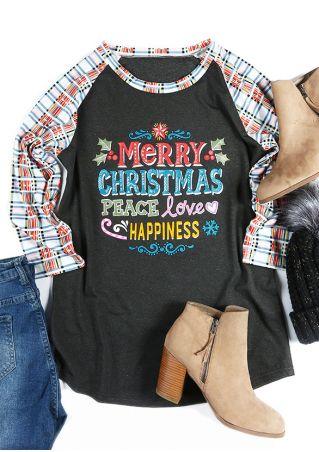 Merry Christmas Peace Love Happiness Baseball T-Shirt