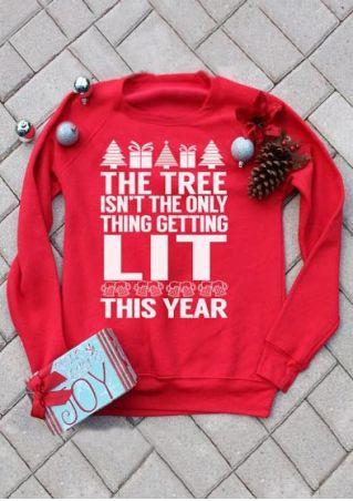 Christmas Letter Printed O-Neck Sweatshirt