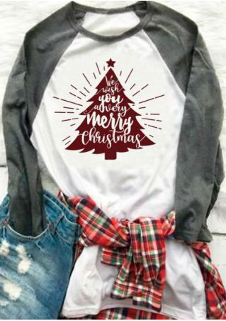 Plus Size Merry Christmas Tree Star Baseball T-Shirt