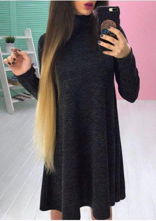 Solid Stand Collar Mini Dress