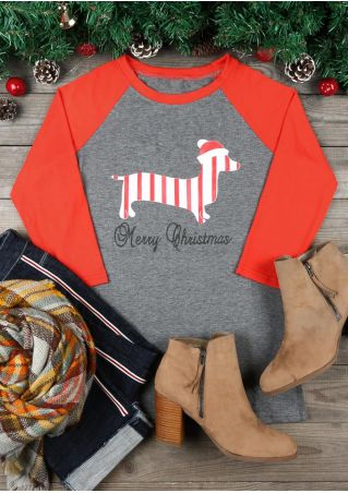 Merry Christmas Santa Hat Dachshund Baseball T-Shirt