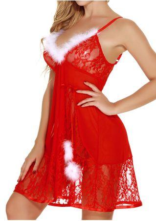 Christmas Lace Floral Splicing Lingerie Set