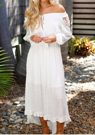 Solid Off Shoulder Layered Maxi Dress