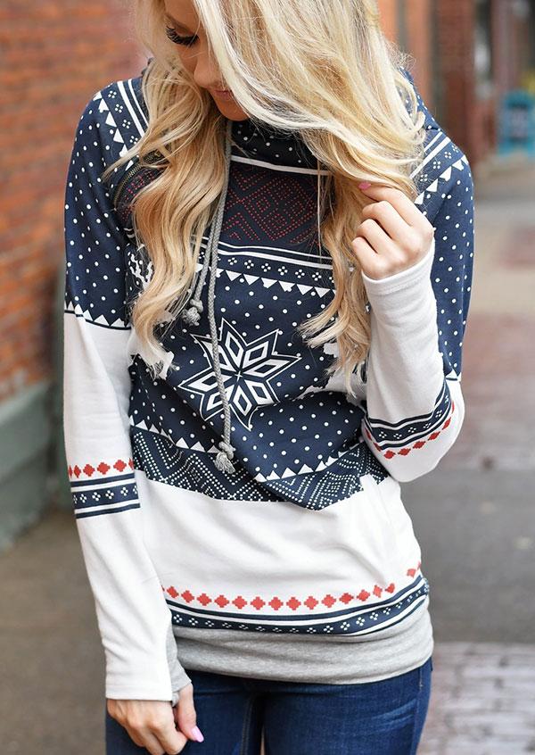 Hoodies & Sweatshirts Christmas Snowflake Reindeer Zipper Thumbholes Hoodie in Navy Blue. Size: M