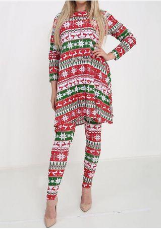Christmas Reindeer Blouse and Leggings Set