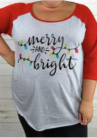 Christmas Plus Size Merry And Bright Baseball T-Shirt