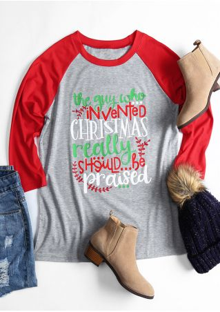 Christmas Three Quarter Sleeve Baseball T-Shirt