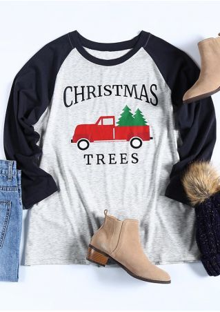 Plus Size Christmas Trees Car Baseball T-Shirt