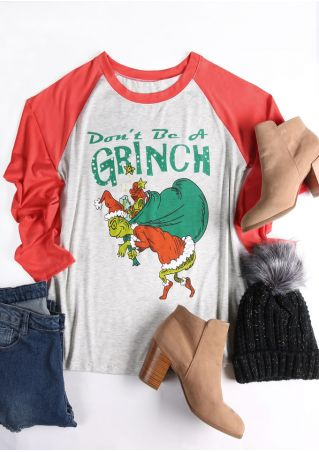 Christmas Don't Be A Grinch Baseball T-Shirt