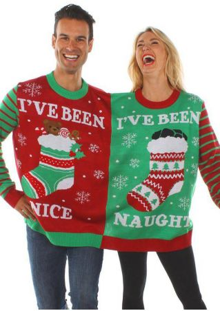 Christmas I've Been Nice & Naughty Snowflake Two-Person Sweatshirt
