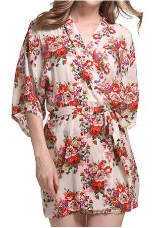 Floral Kimono Pajama with Belt