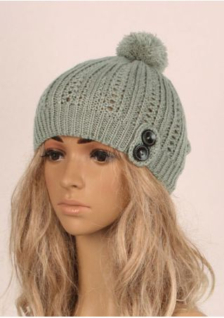 Pompon Button Warm Knitted Hat