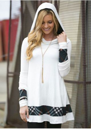 Plaid Splicing Long Sleeve Hoodie Dress without Necklace