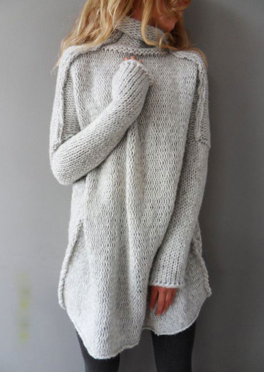 Solid Long Sleeve Casual Sweater