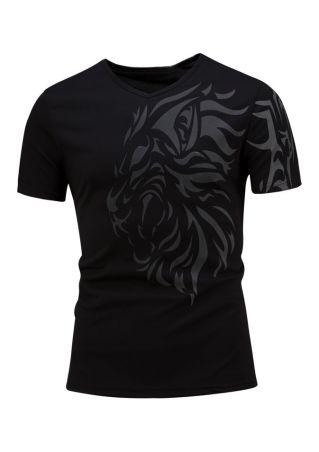 Printed V-Neck Short Sleeve T-Shirt