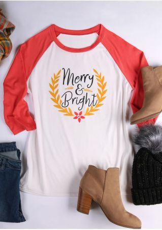 Christmas Merry & Bright Baseball T-Shirt