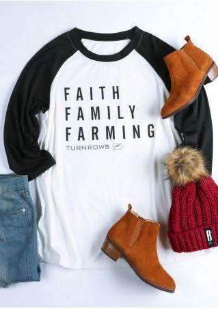 Plus Size Faith Family Farming Baseball T-Shirt