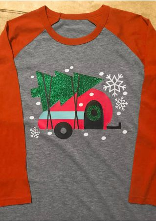 Christmas Tree Car Snowflake O-Neck Baseball T-Shirt