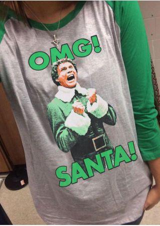 Christmas OMG Santa Baseball T-Shirt without Necklace