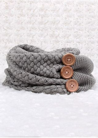 Solid Knitted Button Wrap Scarf