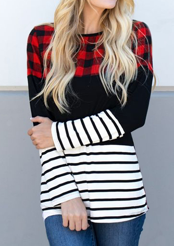 Red Black Plaid And White Black Stripe Long Sleeve T-Shirt for Women in Multicolor. Size: S,M,L,XL,2XL,3XL фото