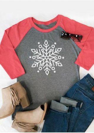 Christmas Snowflake O-Neck Baseball T-Shirt