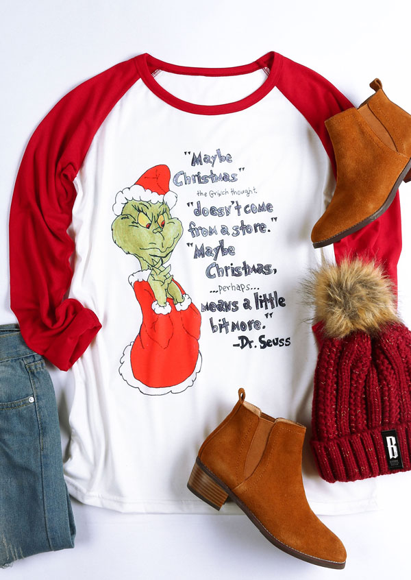 Maybe Christmas Grinch Baseball T Shirt Fairyseason