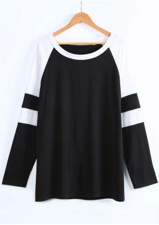 Plus Size Striped Splicing O-Neck Baseball T-Shirt
