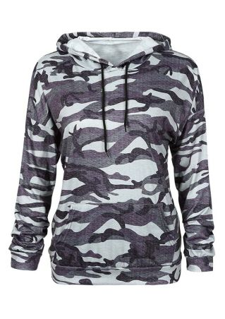 Camouflage Printed Pocket Long Sleeve Hoodie