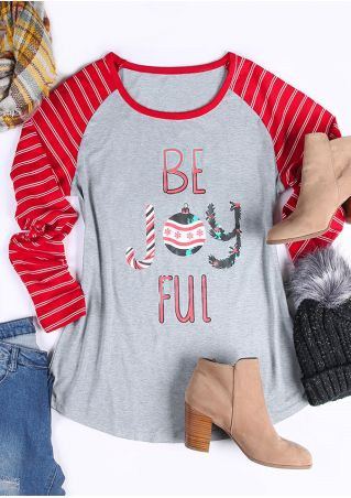 Christmas Plus Size Be Joyful Striped Baseball T-Shirt