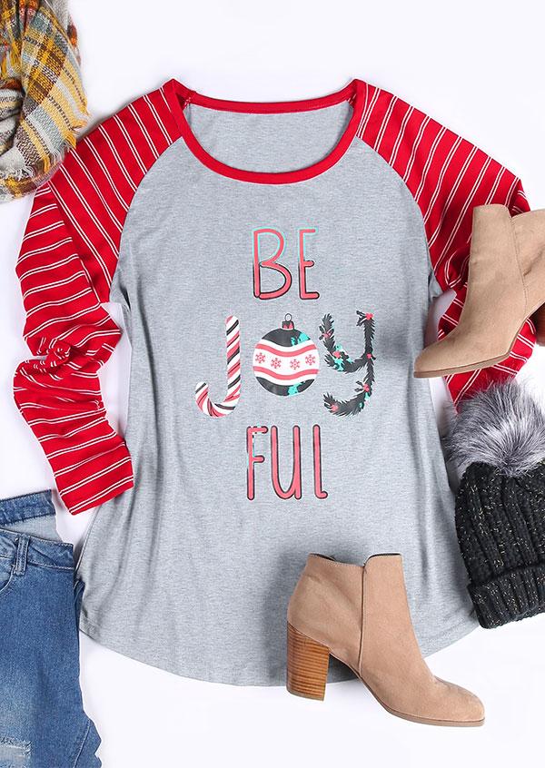 Image of Christmas Plus Size Be Joyful Striped Baseball T-Shirt